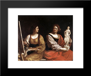Allegory Of Painting And Sculpture: Modern Black Framed Art Print by Guercino