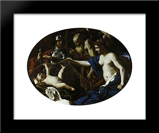 An Allegory With Venus, Mars, Cupid And Time 1626: Modern Black Framed Art Print by Guercino