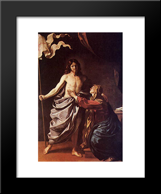 Apparition Of Christ To The Virgin 1630: Modern Black Framed Art Print by Guercino