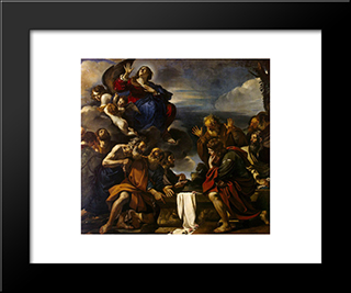 Assumption Of The Virgin: Modern Black Framed Art Print by Guercino
