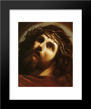 Christ Crowned With Thorns: Modern Black Framed Art Print by Guercino