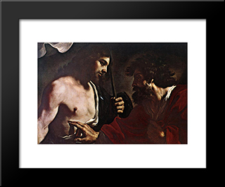 Doubting Thomas: Modern Black Framed Art Print by Guercino