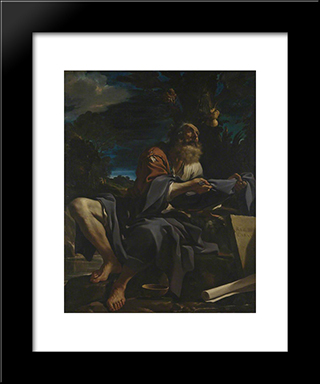Elijah Fed By Ravens: Modern Black Framed Art Print by Guercino