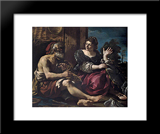 Erminia And The Shepherd: Modern Black Framed Art Print by Guercino
