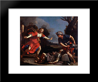 Erminia Finding The Wounded Tancred: Modern Black Framed Art Print by Guercino