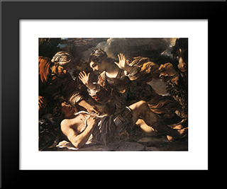 Erminia Finds The Wounded Tancred: Modern Black Framed Art Print by Guercino