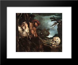 Et In Arcadia Ego: Modern Black Framed Art Print by Guercino