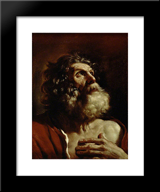Head Of An Old Man: Modern Black Framed Art Print by Guercino
