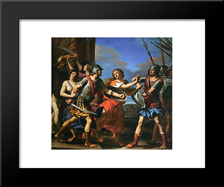 Hersilia Separating Romulus And Tatius: Modern Black Framed Art Print by Guercino