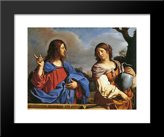 Jesus And The Samaritan Woman At The Well: Modern Black Framed Art Print by Guercino