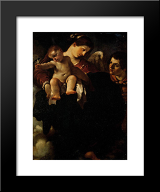 Madonna Of The Swallow: Modern Black Framed Art Print by Guercino