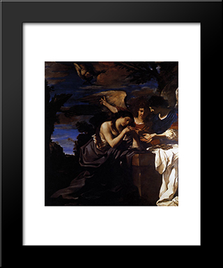 Magdalen And Two Angels: Modern Black Framed Art Print by Guercino