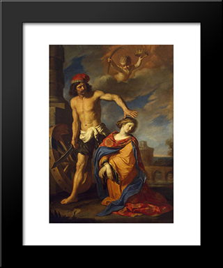 Martyrdom Of St Catherine: Modern Black Framed Art Print by Guercino