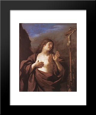 Mary Magdalene In Penitence: Modern Black Framed Art Print by Guercino