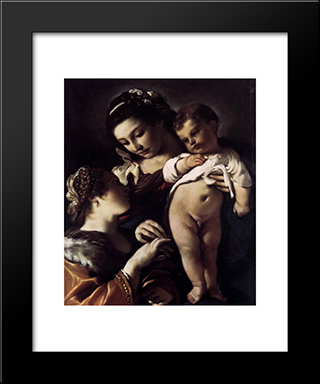 Mystical Marriage Of St Catherine Of Alexandria: Modern Black Framed Art Print by Guercino