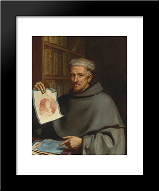 Portrait Of Fra Bonaventura Bisi, Called 'Il Pittorino': Modern Black Framed Art Print by Guercino