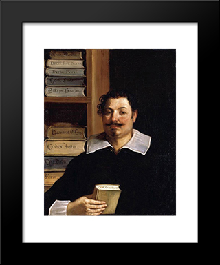 Portrait Of Francesco Righetti: Modern Black Framed Art Print by Guercino