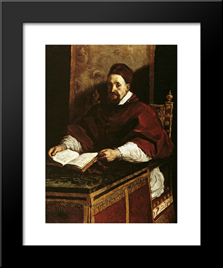 Portrait Of Paul Gregory Xv: Modern Black Framed Art Print by Guercino