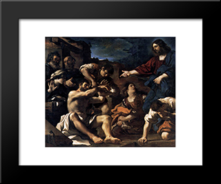 Raising Of Lazarus: Modern Black Framed Art Print by Guercino