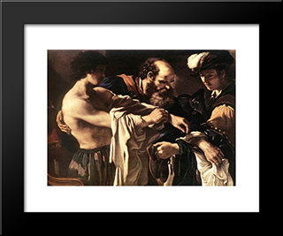 Return Of The Prodigal Son: Modern Black Framed Art Print by Guercino