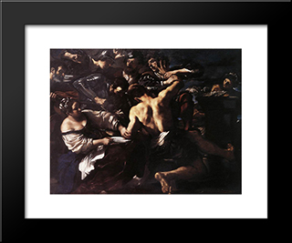Samson Captured By The Philistines: Modern Black Framed Art Print by Guercino