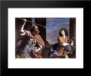Saul Attacking David: Modern Black Framed Art Print by Guercino