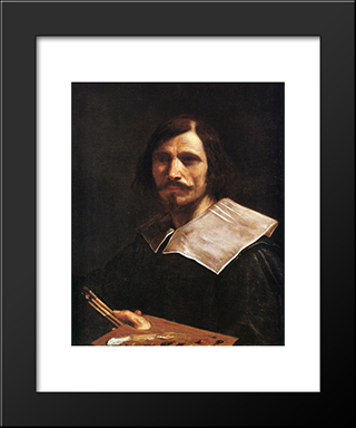 Self Portrait: Modern Black Framed Art Print by Guercino