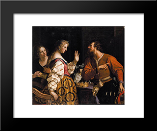Semiramis Called To Arms: Modern Black Framed Art Print by Guercino