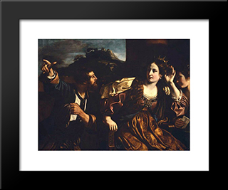 Semiramis Receiving Word Of The Revolt Of Babylon: Modern Black Framed Art Print by Guercino