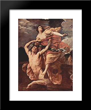 Abduction Of Deianira: Modern Black Framed Art Print by Guido Reni