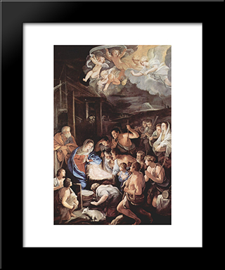 Adoration Of The Shepherds: Modern Black Framed Art Print by Guido Reni