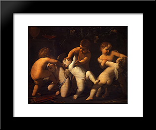 Angels: Modern Black Framed Art Print by Guido Reni