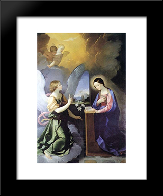 Annunciation: Modern Black Framed Art Print by Guido Reni
