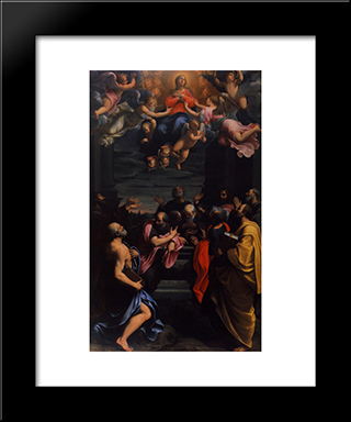 Assumption: Modern Black Framed Art Print by Guido Reni