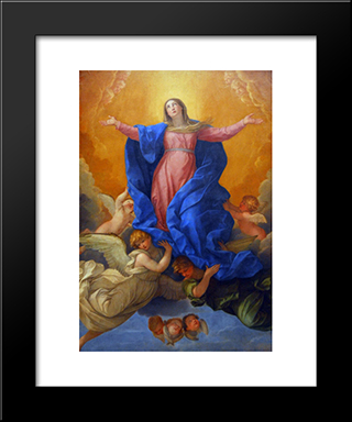 Assumption Of Mary: Modern Black Framed Art Print by Guido Reni