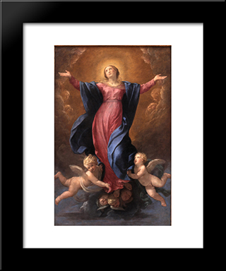 Assumption Of The Virgin: Modern Black Framed Art Print by Guido Reni