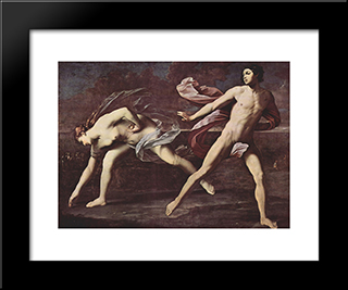 Atalanta And Hippomenes: Modern Black Framed Art Print by Guido Reni