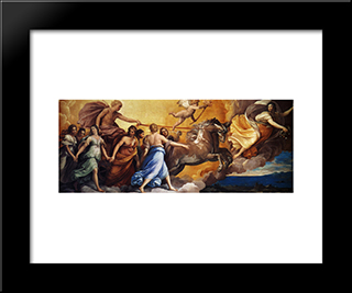 Aurora: Modern Black Framed Art Print by Guido Reni
