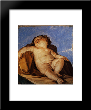 Cherub Sleeps: Modern Black Framed Art Print by Guido Reni