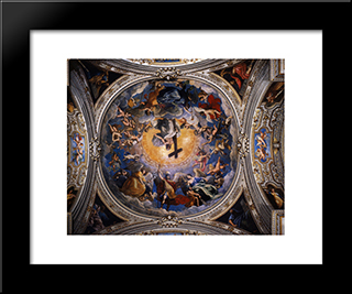 Christ In Glory Between The Angels And Archangels: Modern Black Framed Art Print by Guido Reni