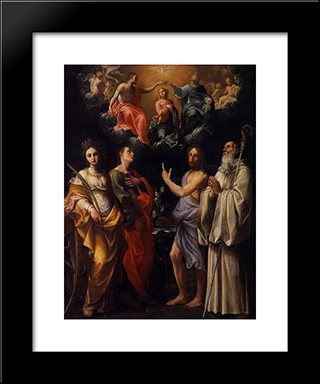 Coronation Of The Virgin With St. Catherine Of Alexandria, St. John The Evangelist, St. John The Baptist: Modern Black Framed Art Print by Guido Reni