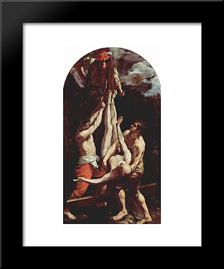 Crucifixion Of St. Peter: Modern Black Framed Art Print by Guido Reni