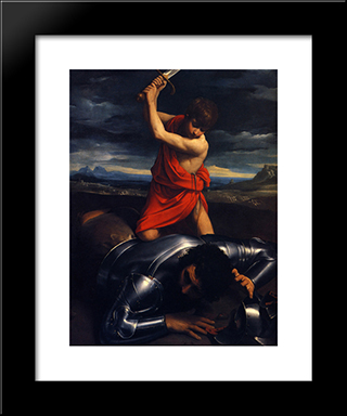 David And Goliath: Modern Black Framed Art Print by Guido Reni