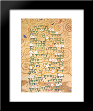Cartoon For The Frieze Of The Villa Stoclet In Brussels Right Part Of The Tree Of Life: Modern Black Framed Art Print by Gustav Klimt