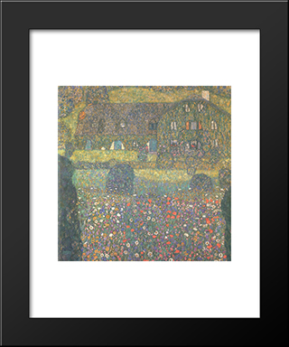 Country House By The Attersee: Modern Black Framed Art Print by Gustav Klimt