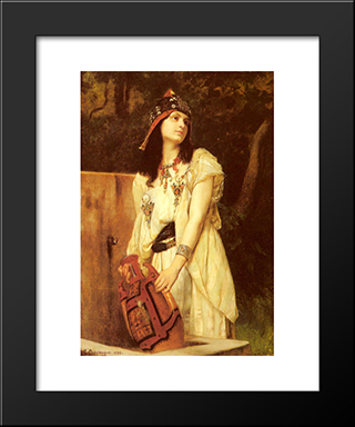 A Woman With An Urn: Modern Black Framed Art Print by Gustave Boulanger