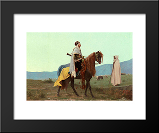 An Arab Horseman: Modern Black Framed Art Print by Gustave Boulanger