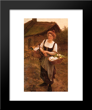 The Farm Girl: Modern Black Framed Art Print by Gustave Boulanger