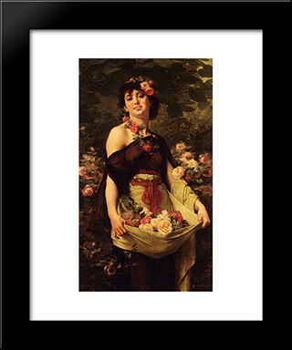 The Flower Girl: Modern Black Framed Art Print by Gustave Boulanger