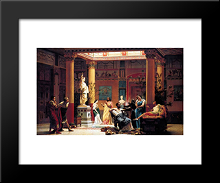 The Flute Concert: Modern Black Framed Art Print by Gustave Boulanger